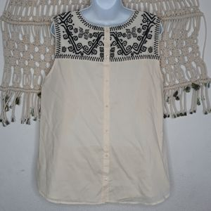 Lucky Brand ivory black embroidery button back top